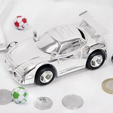 Personalised Silver Plated Sports Racing Car Money Box Engraved Christening Gift