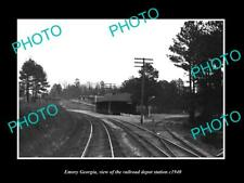 OLD POSTCARD SIZE PHOTO OF EMORY GEORGIA RAILROAD DEPOT STATION c1940