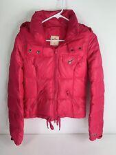 Hollister Womens Sherpa Lined Winter Puffer Coat Hood Small Magenta Pink Zip XS