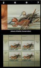 Alberta #12 2007 Cinnamon Teal Conservation Stamp Mini Sheet Of 4 In Folder Nh