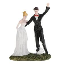 Mariage résine marié et mariée couple football figurine gâteau