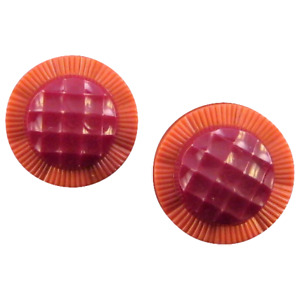 Pink and Burgundy Button-Style Screwback Earrings