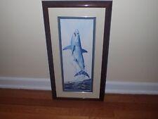 "Guy Harvey Original Watercolor Leaping Mako Shark Signed 25 1/2"" t x 13 1/2"" w"