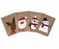 4 X HESSIAN CHRISTMAS SANTA SACK STOCKING JUTE XMAS TOY GIFT PRESENT BAG VINTAGE