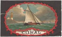 Vintage 'Coral' Racing Sailboat & Lighthouse Maritime Ship 19th Century Label