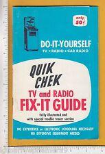 8137 John C. Sperry Enterprises Quik Chek 1962 booklet Lincoln, NE TV radio tube