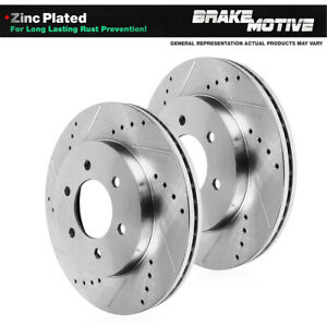 Front Drilled and Slotted Brake Rotors For Infiniti QX56 QX80