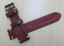 22mm Vintage Red Leather Watch Band Strap (Vintage) Black Buckle FREE SHIP