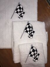 Embroidered Bathroom - Bath Sheet , Hand & Wash Cloth Set CHECKERED FLAG RACING