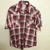 Ely Cattleman Mens L Short Sleeve Pearl Snap Blue & Red Plaid Western Shirt