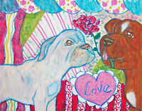 Dogue de Bordeaux Valentines Day Original Painting 11 x 14 Vintage Style Dog Art