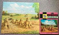 Deluxe Guild Jigsaw Puzzle vtg COMPLETE 376 pc Reaping the Harvest Hay Stack e1