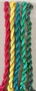 HAND DYED MERCERISED FINE COTTON EMBROIDERY THREADS - 5 SKEINS