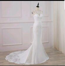 UK Sexy White/Ivory Mermaid Lace V Back Sleeveless Beach Wedding Dress Size 6-16