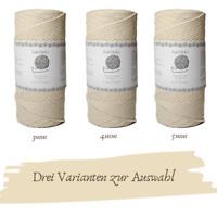 basteldekor Makramee Garn extra lang 200 Meter x 3,4,5 mm Natur-Baumwollgarn