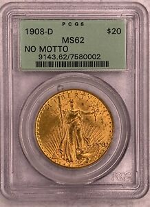 1908-D No Motto Double Eagle PCGS MS62 $20 Old Green Tag Beautiful Coin