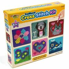 Kids Cross Stitch Kit with Childrens Sewing Set Home Work Learning Activity