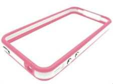 Pink/white Bumper Case + Protector De Pantalla Apple Iphone 4