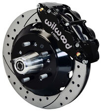 """WILWOOD DISC BRAKE KIT,FRONT,58-70 IMPALA FOR CPP 2"""" DROP,13"""" DRILLED ROTORS,BLK"""