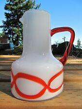 Mid-Century, MOD* Cased Glass Pitcher, White w/Bright Orange Abstract Graphics.
