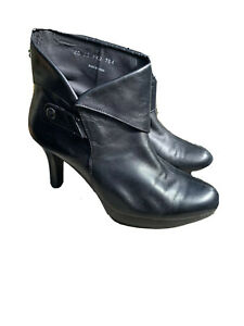 🤍ZIERA KUMFS   JAGGER  BLACK LEATHER ANKLE BOOTS   Size 40XW