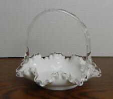"""VTG Unmarked Silver-crested White Glass w/Clear Ruffle Edge 8"""" Basket EUC"""
