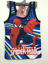 Boys Sz 3 Cool Spiderman Print Blue & Red Singlet Muscle Tank Style Top