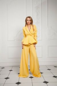 "Women's yellow Suit ""Palazzo""  jacket with pants, size S"