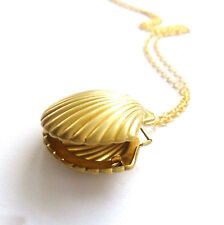 News Sea Shell Locket Mermaid Valentine Necklace Gold Tone BrassNautical Jewelry