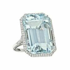 Cocktail wedding  Ring 5ct Aquamarine Blue Emerald Cut pure  925 Sterling Silver