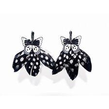 Lol Bijoux - Boucles d'Oreilles Papillons - Plumes - Noir et Blanc