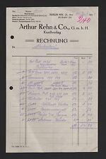 Berlín, factura 1918, Arthur Rehn & co. GmbH arte-Verlag