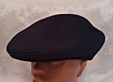 VINTAGE AUTHENTIC DARK BLUE WOOL BLEND NEWSBOY CABBIE CAP HAT SIZE:US7 1/8;EU57