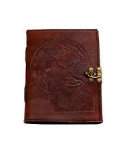 Wolf Indien Lederbuch Tagebuch Notizbuch NEUE PAPIERART Handarbeit Vintage Mond