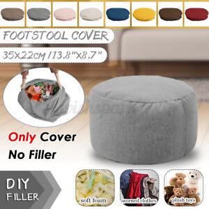 Velvet Bean Bag Footstool Footrest Round Stool BeanBags Sofa Lounger Cover Mini