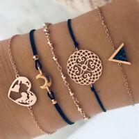 5Pcs/Set Retro Women Boho Heart Hollow Map Moon Beads Bracelet Bangle Jewelry