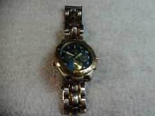 Fossil 100 Meters Blue Watch Silver & Gold Tones 160-4F3
