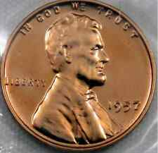 GEM BU 1957 GEM RED PROOF LINCOLN Cent/Penny 59 YEARS OLD+SHARP+BRILLIANT