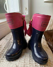 Joules Toddler Girls Evedon Welly Rain Boot New Blue Pink Bow Boots