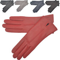 Ladies Womens Super Soft Genuine Real Leather Gloves Fleece Lining Grey Navy Red