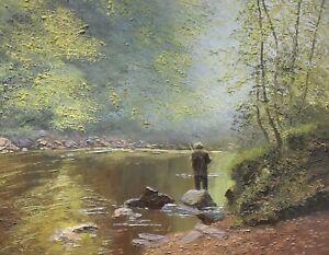 Pamela Derry - Original Oil Painting - 'Lone Fisherman'. River Landscape.