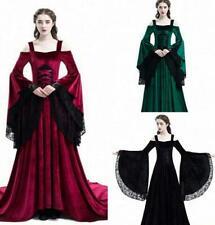 Medieval style lace off-shoulder dress long skirt Bell Sleeve slim party dresses