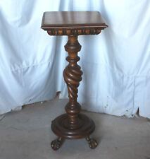 Large Antique Mahogany Pedestal Stand – Merklen Style – top is 16″ x 16″