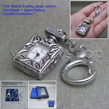 Antique Silver Ladies Vintage Pendant Pocket Watch Necklace Keychain Box L42