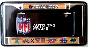Pittsburgh Steelers 6X Champions Metal Chrome Frame License Plate Tag Cover