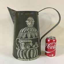"Vintage Galvanized Metal Watering Can Hand Painted 12"" Tall Pitcher Vase Decor"