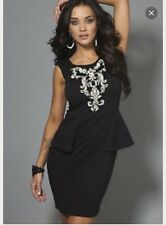 Lipsy Peplum Bodycon Dress With Beaded Embroidery Size 6 BNWT