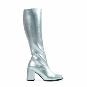 White Go Go Dancer 60s Mod 70s Hippie Knee Hi Costume Boots Womans All Sizes