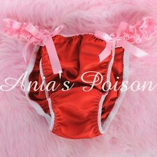 sissy Satin mens shiny RED Ruffled mens string Bikini panties sz XL