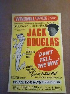 ORIGINAL  THEATRE POSTER  JACK DOUGLAS  DONT TELL THE WIFE GREAT YARMOUTH